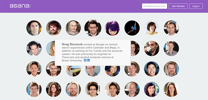 Here's how Asana presents their team to potential clients.